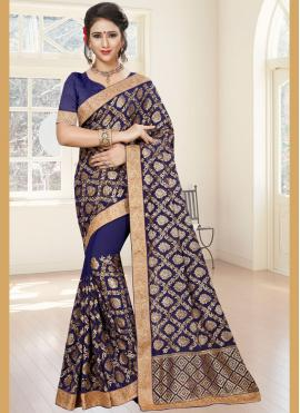 Attractive Embroidered Work Blue Classic Saree