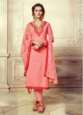 Charismatic Faux Georgette Pink Pant Style Suit