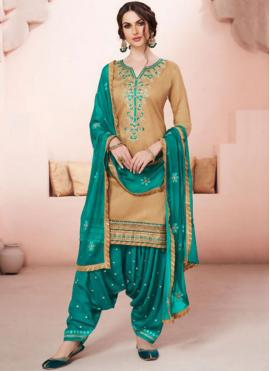 Dainty Embroidered Work Beige and Sea Green Designer Patiala Suit