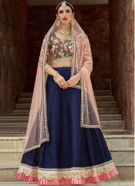 Demure Art Silk Blue Designer Lehenga Choli