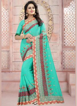 Demure Sea Green Resham Work Faux Georgette Saree