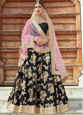 Distinctive Crepe Silk Zari Work Lehenga Choli