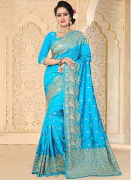 Fine Firozi Art Silk Designer Traditional Saree