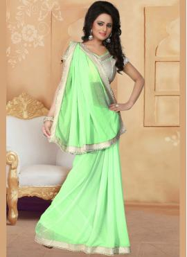Flawless Faux Georgette Patch Border Work Saree