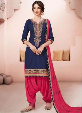 Glossy Cotton   Hot Pink and Navy Blue Designer Patiala Suit