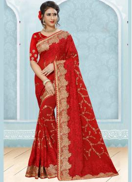 Jazzy Red Designer Saree