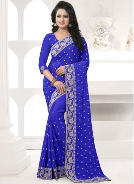 Majestic Embroidered Work Blue Designer Saree