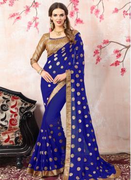 Modern Navy Blue Embroidered Work Bollywood Saree