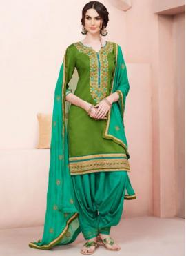 Prodigious Embroidered Work Green Cotton   Designer Patiala Suit