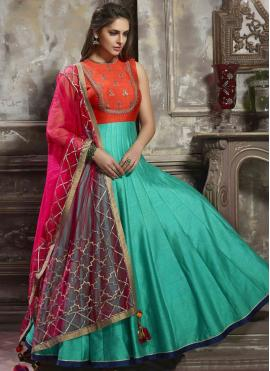 Riveting Art Silk Orange and Sea Green Readymade Anarkali Suit