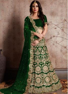 Snazzy Green Silk Lehenga Choli