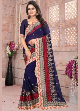 Sophisticated Resham Work Faux Georgette Designer Saree