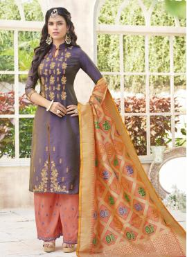 Stunning Embroidered Work Purple Cotton Satin Designer Palazzo Suit