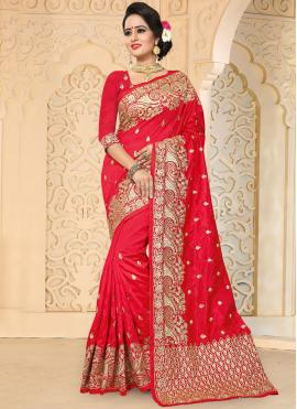 Sumptuous Red Embroidered Work Art Silk Designer Traditional Saree