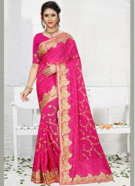 Tantalizing Faux Georgette Embroidered Work Classic Saree