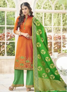 Titillating Embroidered Work Cotton Satin Orange Designer Palazzo Suit