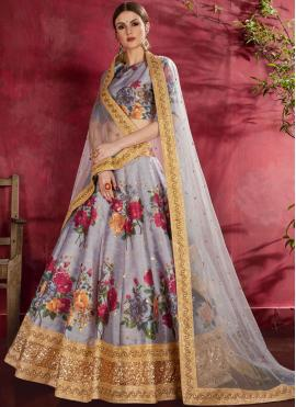 A Line Lehenga Choli Zari Banglori Silk in Grey