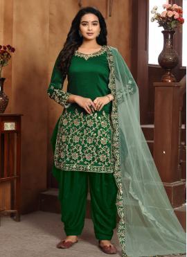 Absorbing Green Art Silk Designer Patiala Suit