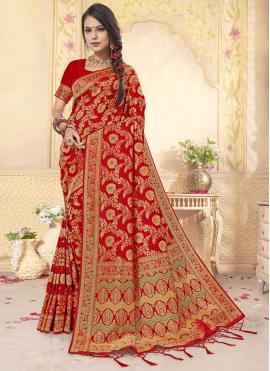 Absorbing Weaving Banarasi Silk Red Classic Designer Saree