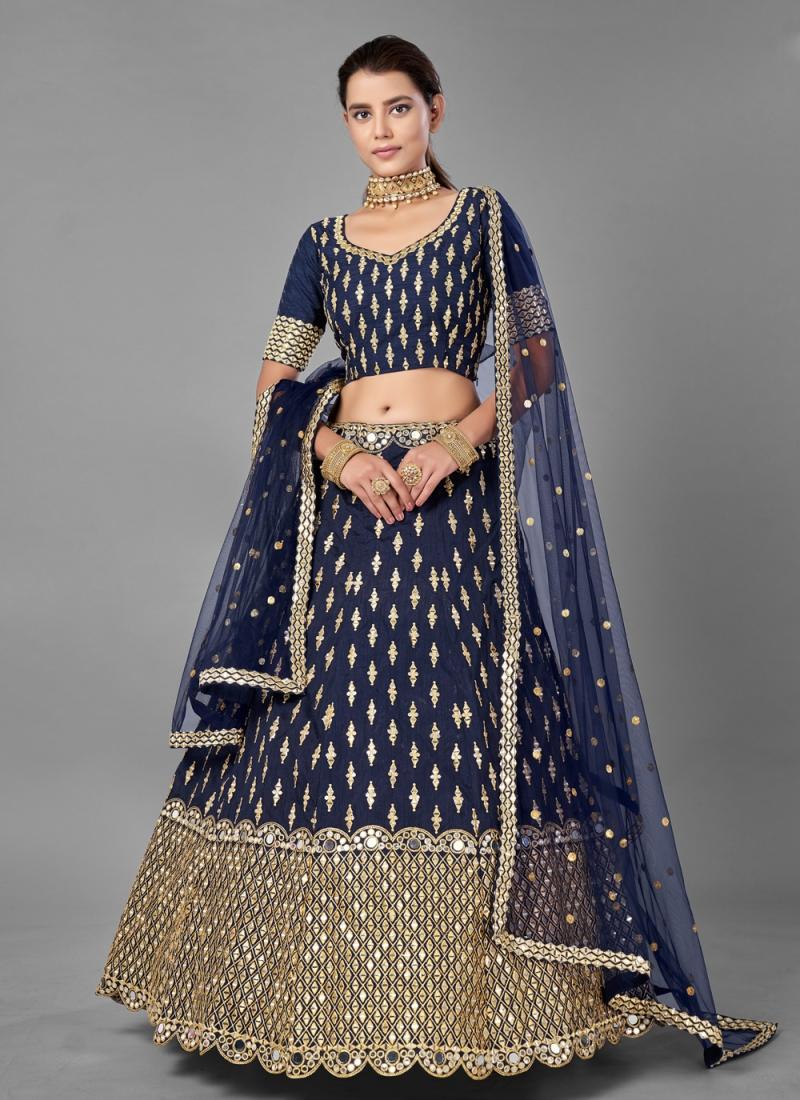 Adorable Art Silk Sequins Navy Blue Lehenga Choli