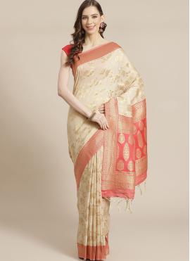 Adorable Cream Traditional Designer Saree