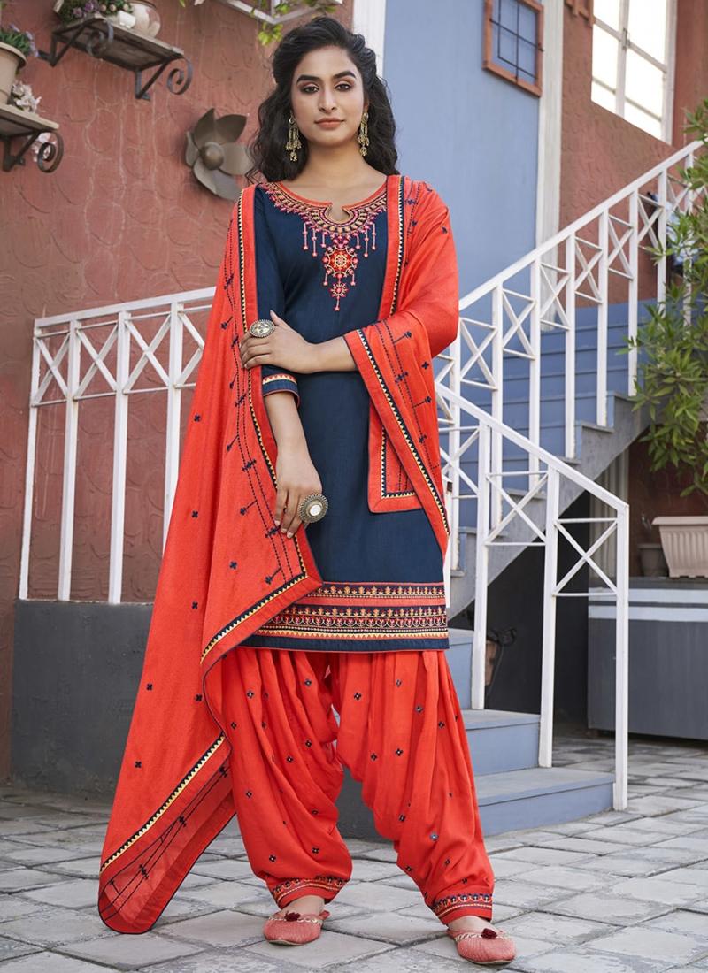 Adorable Embroidered Navy Blue Cotton Designer Patiala Suit