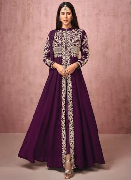 Adorable Purple Resham Faux Georgette Anarkali Salwar Suit