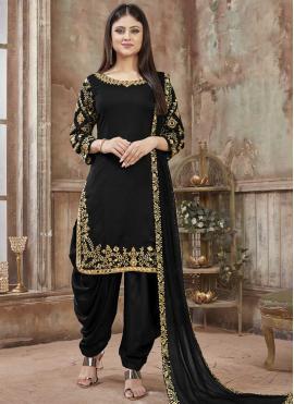 Adorning Black Embroidered Designer Patiala Salwar Kameez