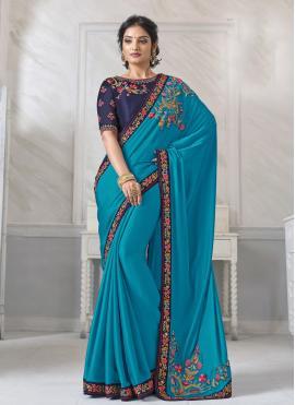 Adorning Blue Embroidered Silk Designer Saree