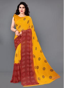 Adorning Faux Georgette Multi Colour Printed Classic Saree