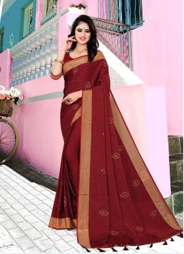 Adorning Maroon Satin Silk Contemporary Saree