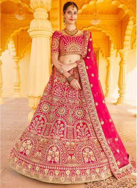Adorning Pink Embroidered A Line Lehenga Choli