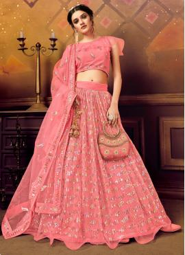 Adorning Pink Reception A Line Lehenga Choli