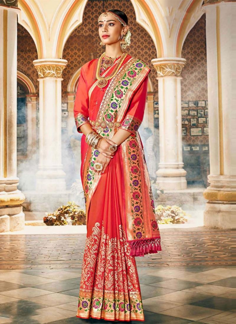 Adorning Silk Weaving Peach Designer Traditional Saree