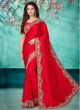 Aesthetic Embroidered Satin Red Designer Traditional Saree