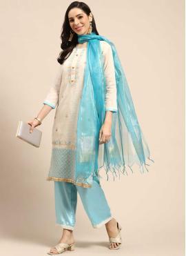 Aesthetic Fancy Off White Silk Palazzo Designer Salwar Kameez