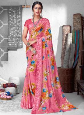 Aesthetic Faux Chiffon Floral Print Saree
