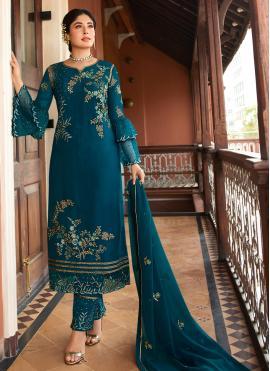 Aesthetic Georgette Teal Trendy Salwar Suit