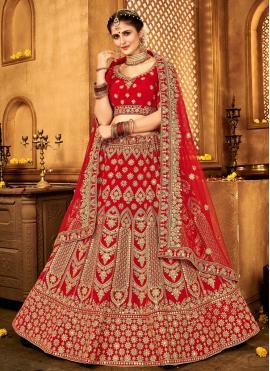 Aesthetic Red Lace Velvet A Line Lehenga Choli