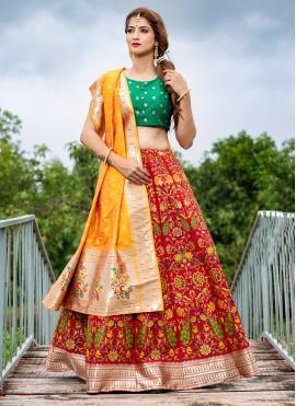 Affectionate Banarasi Silk Printed Red A Line Lehenga Choli