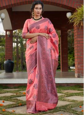 Affectionate Pink Weaving Traditional Saree