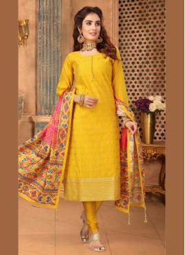 Alluring Art Silk Embroidered Churidar Salwar Suit
