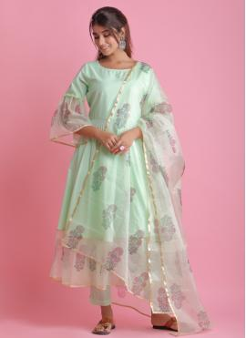 Alluring Block Print Green Fancy Fabric Readymade Suit