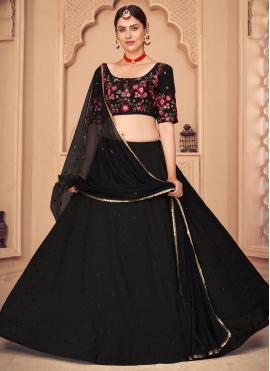 Alluring Embroidered Black Lehenga Choli