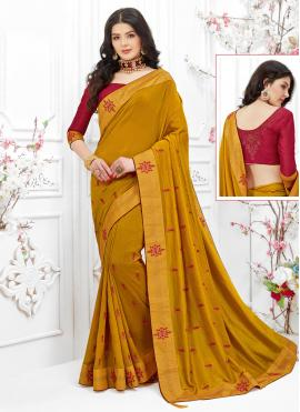 Alluring Embroidered Fancy Fabric Mustard Classic Saree