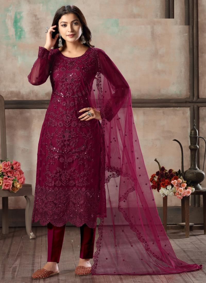 Alluring Net Festival Churidar Designer Suit