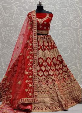 Alluring Red Velvet Lehenga Choli