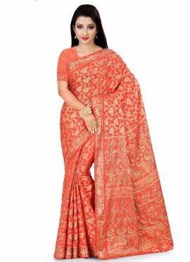 Amazing Fancy Fabric Handwork Red Designer Saree