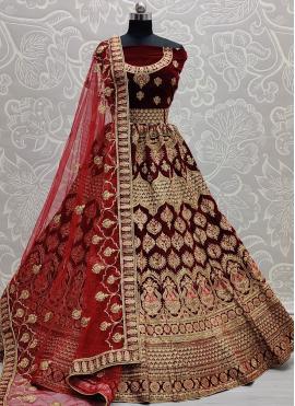 Amazing Velvet Embroidered Maroon Lehenga Choli
