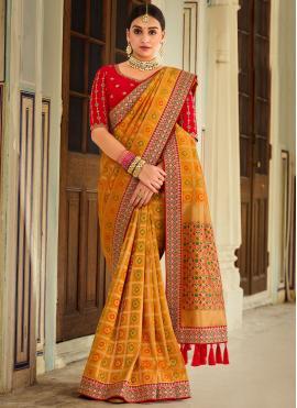 Amazing Yellow Designer Traditional Saree